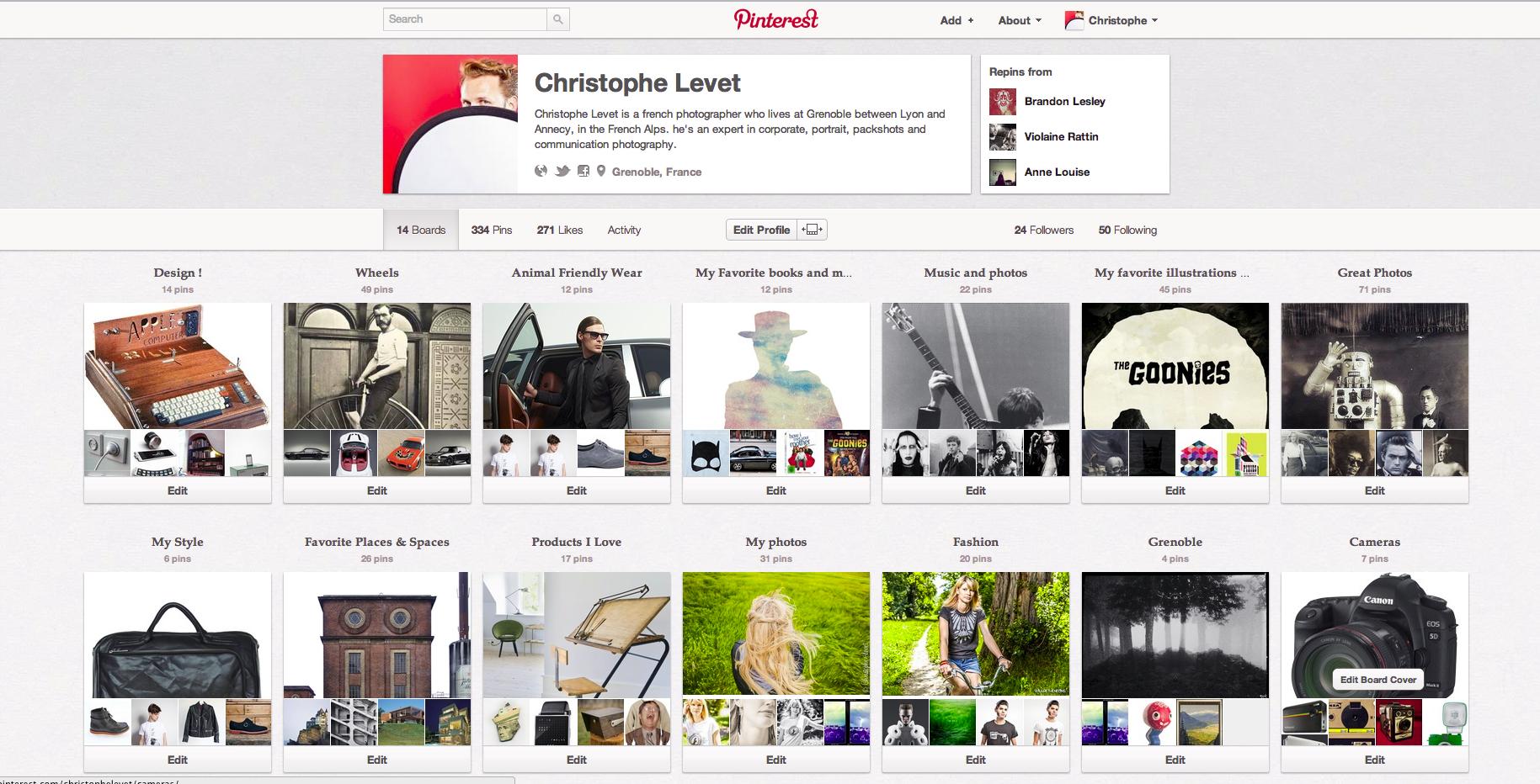 La page Pinterest de Christophe Levet Photographe